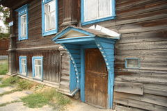 Front door of an old wooden house Royalty Free Stock Photos