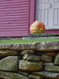 Front Door Pumpkin. Seasonal decoration at a Connecticut farmhouse Royalty Free Stock Photos