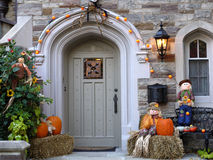 Front door with pumpkins Stock Images