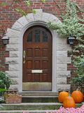 Front door with pumpkins Stock Image