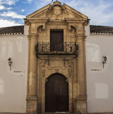 Front door Ronda bullring. Construction of the plaza de toros de Ronda lasted six years, and was inaugurated in 1785. His roll of 66 meters in diameter is Stock Photo