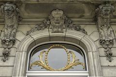 Front door stone bas-relief Stock Photos