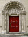 Front door to a chruch. Wooden front door to an old church in Manhattan, New York Stock Image