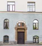 Front door with Windows on the sides of Stock Photo