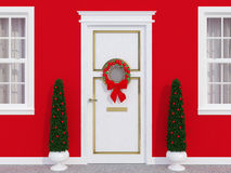 Front door with wreath. Classic front door decorated for the holiday season Royalty Free Stock Photography