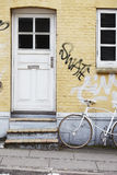Front door of yellow building Royalty Free Stock Photos