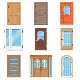 Front doors, collection of vIntage and modern doors to houses and buildings vector illustrations Stock Photo