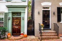 Front Doors de madera colorido Imagen de archivo libre de regalías