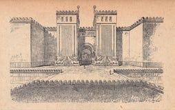 Main gate of the Sargon Palace stock illustration