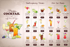 Front Drawing horisontal cocktail menu. Design on vintage background Stock Photos