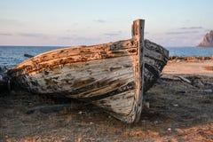 Front eines alten Thunfischbootes Stockfotografie