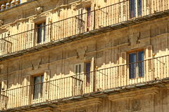 Salamanca - Plaza Mayor. Front elevation of the tenement house in Salamanca Stock Photos