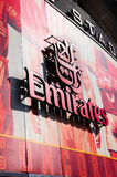Front of The Emirates Stadium - Emirates Signage Stock Image
