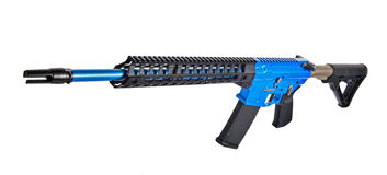 Front end of AR15 rifle anodized blue paint Stock Images