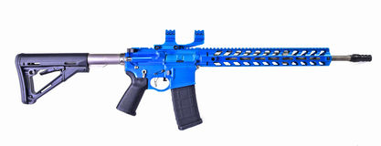 Front end of AR15 rifle painted anodized blue Stock Image