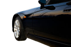 Front End of Black Sports Car. Front fender shot of a sports car stock photo