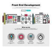 Front end development flat line web graphics. One page web design template with thin line icons of front-end development of client web software, application Royalty Free Stock Photography