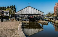 Front End of the Dry Dock. The view in the sunshine towards the front end of the dry dock in Wigan Royalty Free Stock Images