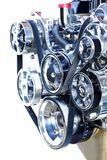 The front end of a high performance chrome engine stock photography