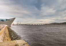 Structure, Bridge & Oil Platform yard Dundee. The front end of the new Dundee Waterfront maritime structure, the forth Road Bridge and Oil Platform Yards in Royalty Free Stock Photo