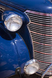 Vintage blue car front end side Royalty Free Stock Photography