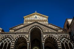 Front entrance of the Amalfi cathedral dedicated to the Apostle Saint Andrew in the Piazza del Duomo in Amalfi Italy stock photos