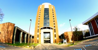 Front Entrance of Building at The University of Memphis. Student Center Building at the University of Memphis in Memphis, Tennessee Royalty Free Stock Photos
