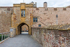 The front entrance of the castle. The front entrance is along a wall of defense. Everything is constructed to have a better defense Stock Image