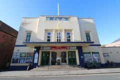 Front entrance of cinema building. The front entrance and façade of the Ritz cinema building in the town of Burnham-on-Sea in Somerset, England royalty free stock image