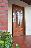 Front entrance door. Wooden door with glazing and green plant Royalty Free Stock Images