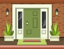 Front Entrance Door. Vector illustration of a facade of a house bricks lining an entrance door to a building a home garden on the doorstep into the building stock illustration