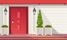 Front Entrance Doors. Facade of building, front door with outdoor plants in pots, vector building element stock illustration