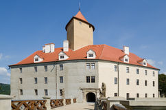 Front entrance of the gothic Veveri castle Stock Photo