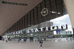 Front entrance of the international train station of Rotterdam. With big Centraal Station on it means Rotterdam central station royalty free stock photo