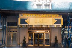 Front entrance of the J.W. Marriott Essex House Hotel in Manhattan New York City. New York, NY - April 3, 2019: Front entrance of the J.W. Marriott Essex House royalty free stock photo