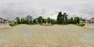Front Entrance of Old Casino, Cluj-Napoca, Romania. 360 panorama of the front entrance of the Old Casino building with a fountain in Central Park (Parcul Central Royalty Free Stock Images
