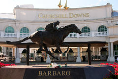 Front entrance to Churchill Downs. Front of Churchill Downs in Louisville Kentucky with statue of race horse Barbaro Royalty Free Stock Photography