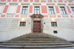 Front entrance to The Crown Jewels chamber in Prague Castle Royalty Free Stock Photography