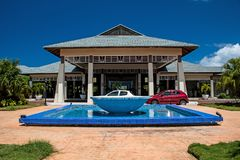 Front Entrance To The Melia Jardines Del Rey In Cayo Coco, Cuba. The front entrance to the Melia Jardines Del Rey all-inclusive resort in Cayo Coco, Cuba. The royalty free stock image