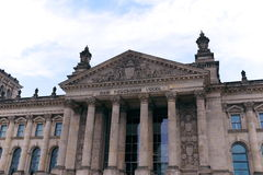 Front entrance to the Reichstag in Berlin, Germany Royalty Free Stock Image