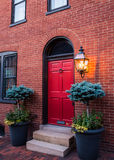 Front entry door of brick town home. Royalty Free Stock Photos