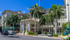 Front exterior panorama of the Moana Surfrider Stock Image