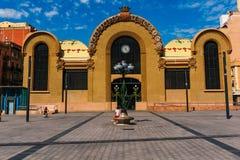 The front façade of Mercat Central de Tarragona during a sunny sunday. Mercat Central de Tarragona`s front façade during a summer sunday stock photography