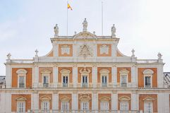 Royal Palace of Aranjuez, Madrid Spain. Front façade of the Royal Palace of Aranjuez in Madrid, Spain Royalty Free Stock Photo