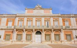Front façade of the Royal Palace of Aranjuez in Madrid, Spain. Royal Palace of Aranjuez, Madrid Royalty Free Stock Image