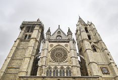Front facade of the Cathedral of Leon Royalty Free Stock Photo