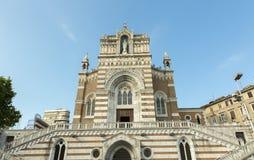 Facade of old catholic church. Front facade of the catholic church dedicated to the Lady of the Lourdes Stock Photography