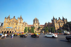 Front facade of Chatrapati Shivaji Terminus (CST, VT) in South Mumbai, India with copy space. Stock Photos