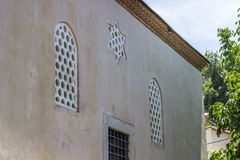 Front facade of church building under open sky. In Turkey at sunset time Stock Photos