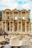 The front facade and courtyard of the Library of Celsus at Ephes Royalty Free Stock Images